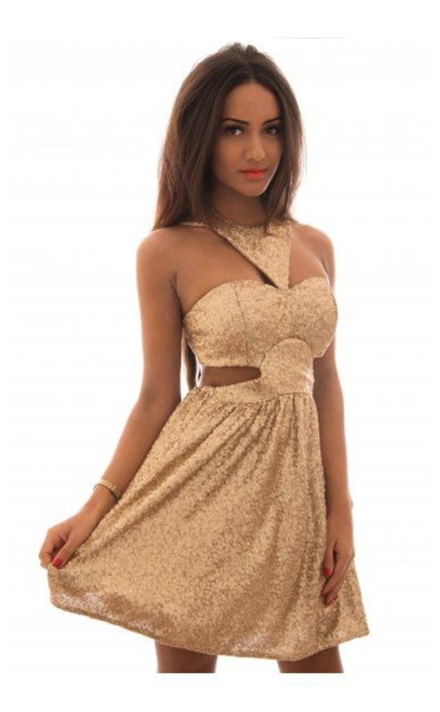 Gold Sequin Side Cut Out Open Back Skater Dress