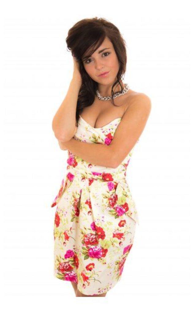 Premium Floral Strapless Bandeau Dress In Cream