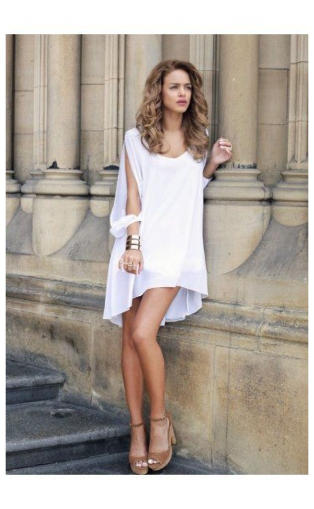 Italiano White Chiffon Shift Dress