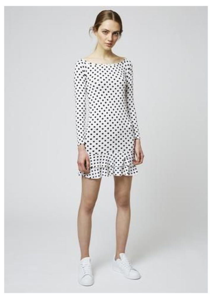 Spot Frill Hem Jersey Dress
