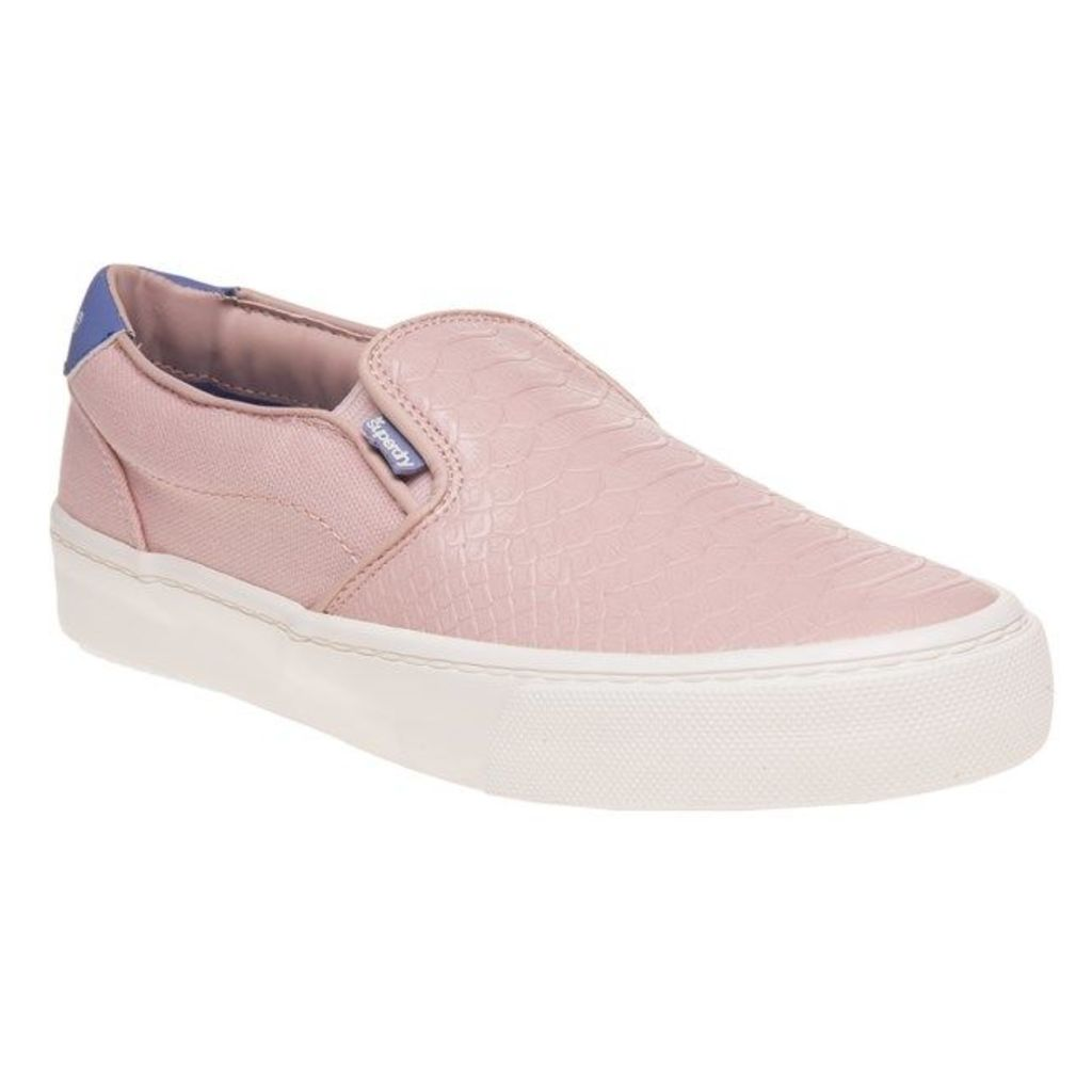 Superdry Dion Slip On Trainers, Pink Blush Python
