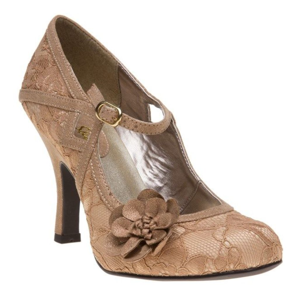 Ruby Shoo Elsy Shoes, Gold Lace
