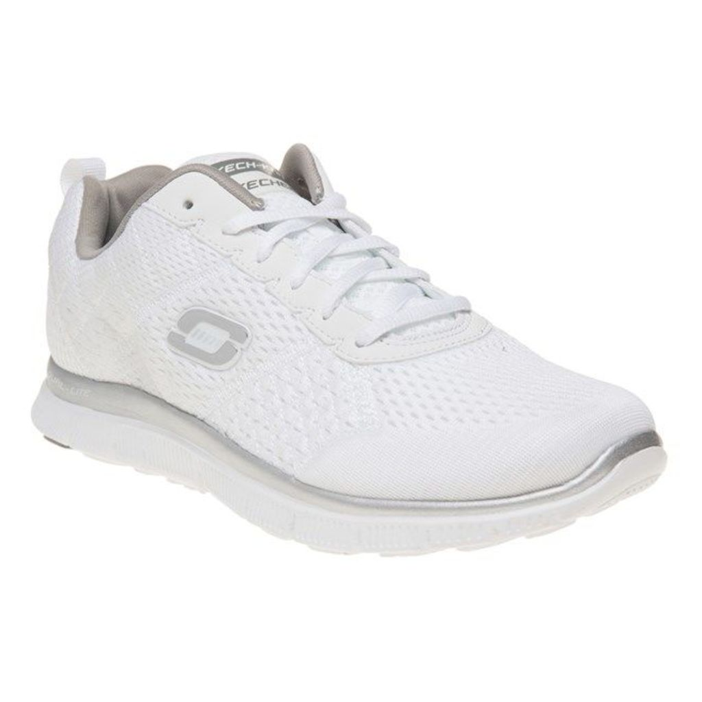 Skechers Flex Appeal Obvious Choice Trainers, White/Silver