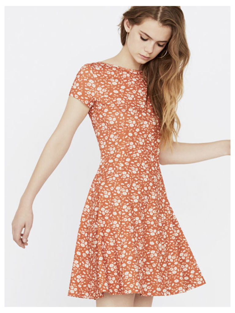 Orange Mindy Ditsy Tie Back Dress