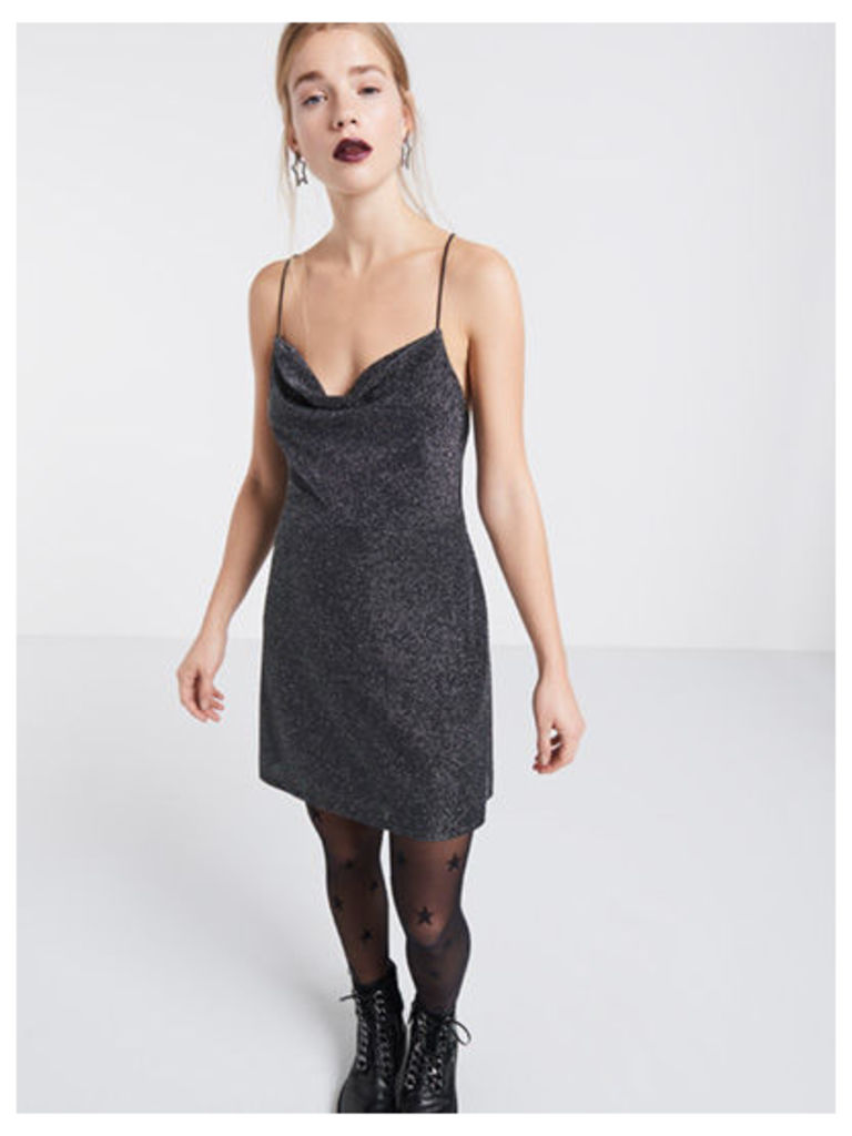 Glitter Cowl Neck Mini Dress