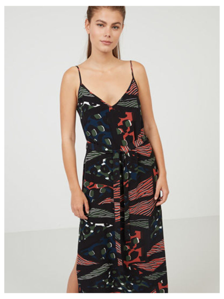 Black Pattern Geo Print Midi Slip Dress