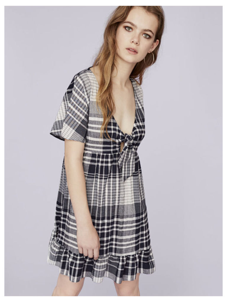 Navy Crinkle Check Frill Hem Smock Dress
