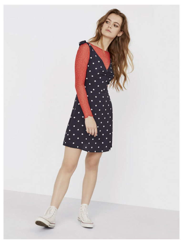 Navy Ginny Polka Dot Ruched Front Dress