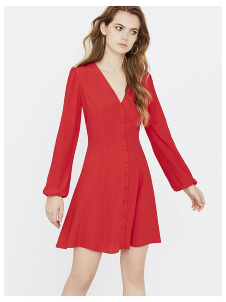 Red Button Through Long Sleeve Dress