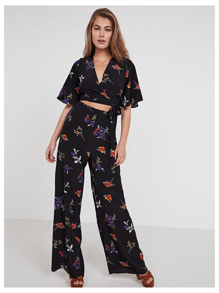 Black Marcella Floral Wide Leg Trouser