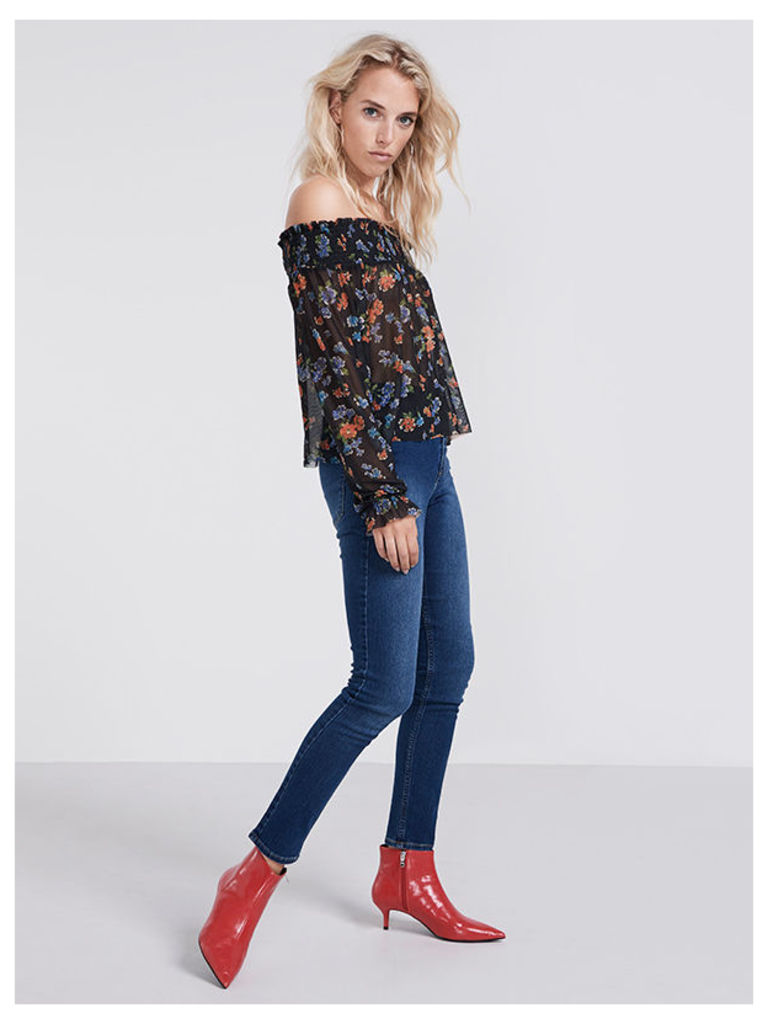 Black Grace Floral Mesh Bardot Top