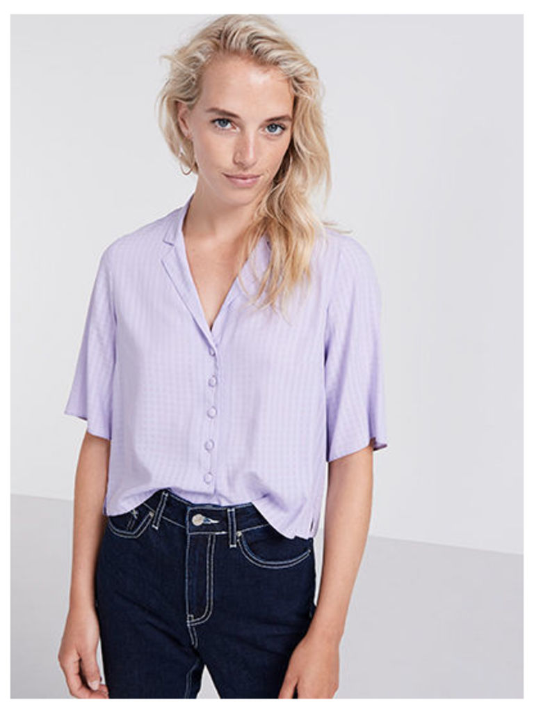 Lilac Self Check Boxy Shirt