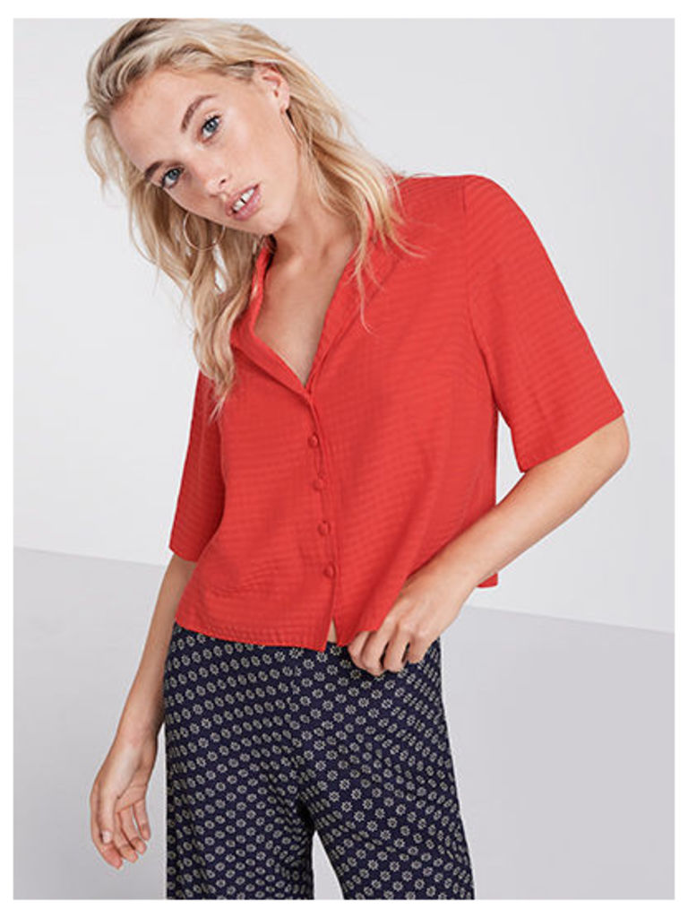 Red Self Check Boxy Shirt