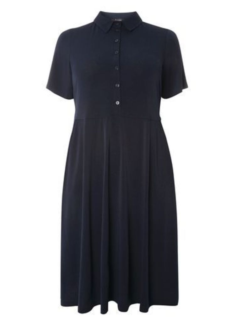 Navy Blue Shirt Fit and Flare Dress, Navy