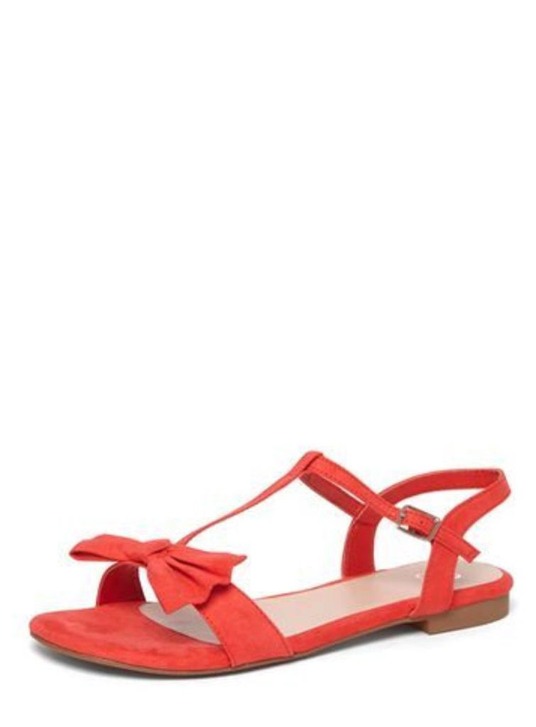 Red T-Bar Bow Sandals, Red