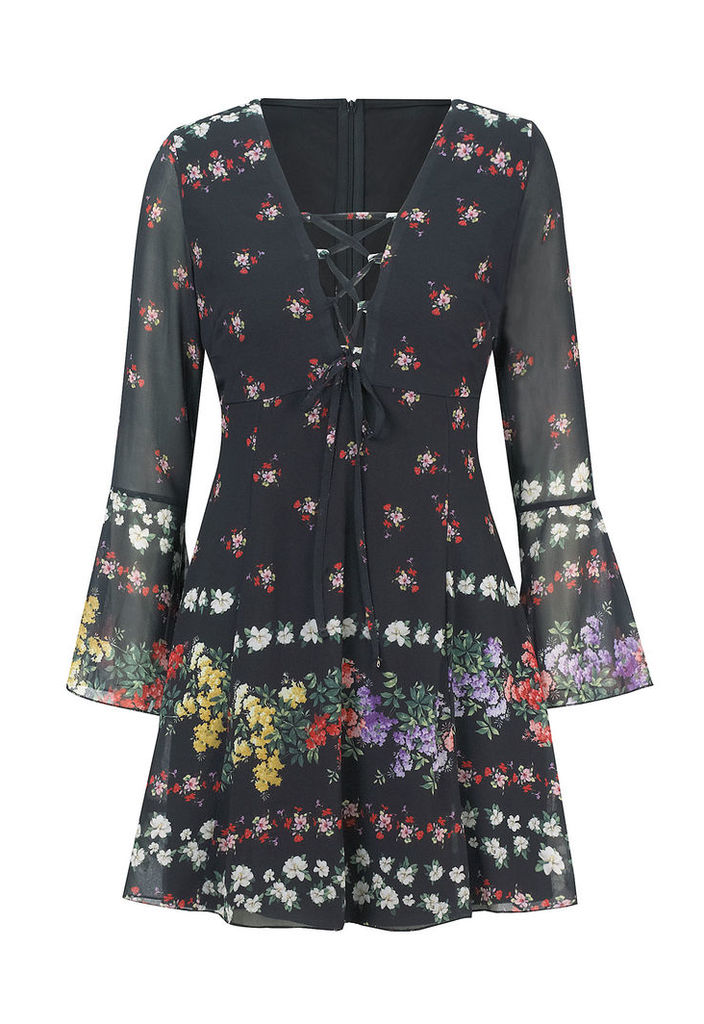 Sistaglam by Lipstick Boutique Daisy Floral Print Lace-Up Dress
