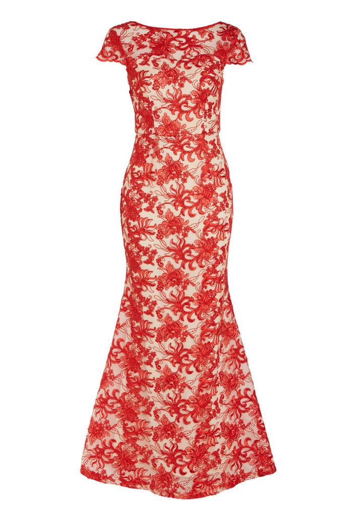 D.Anna Fishtail Lace Maxi Dress In Red