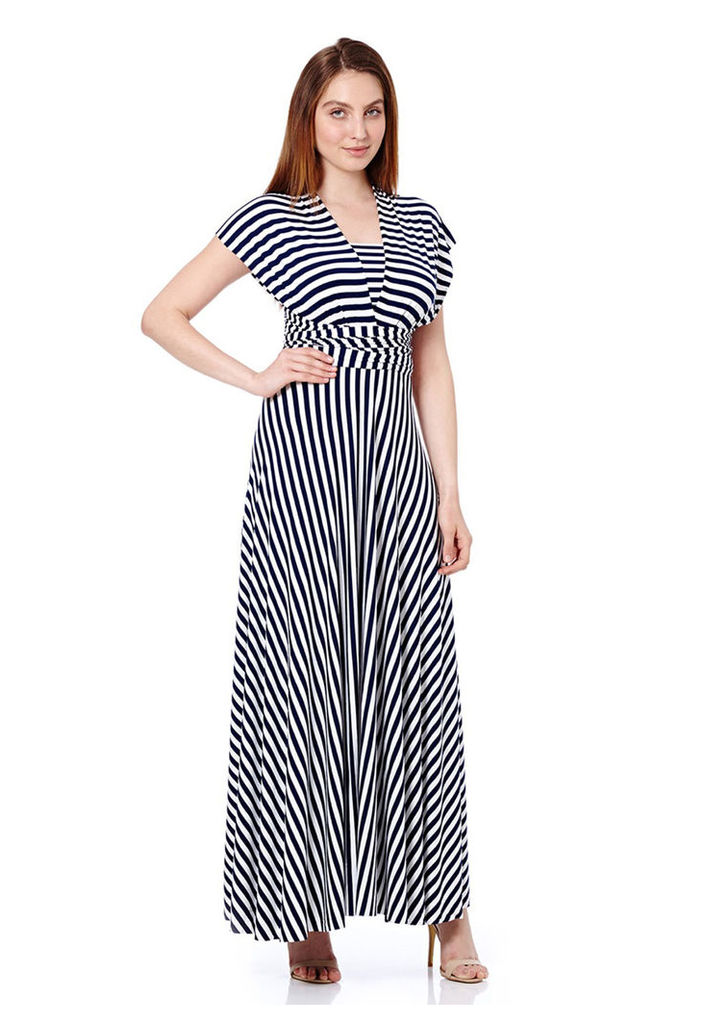 In One Clothing Multiway Maxi Dress In Stripe
