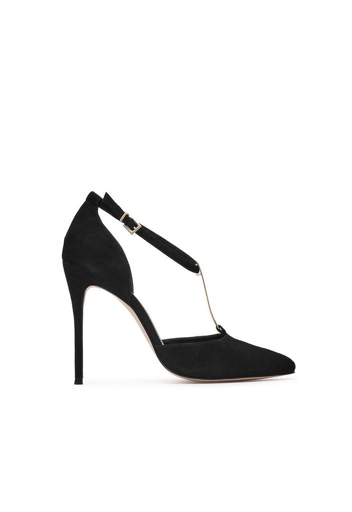 Reiss Keira Suede T-Bar Shoes in Black