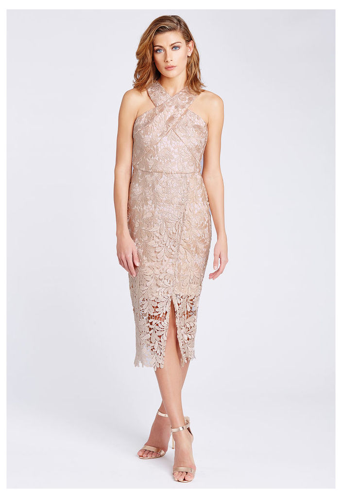D.Anna Cross Front Lace Midi Dress in Nude