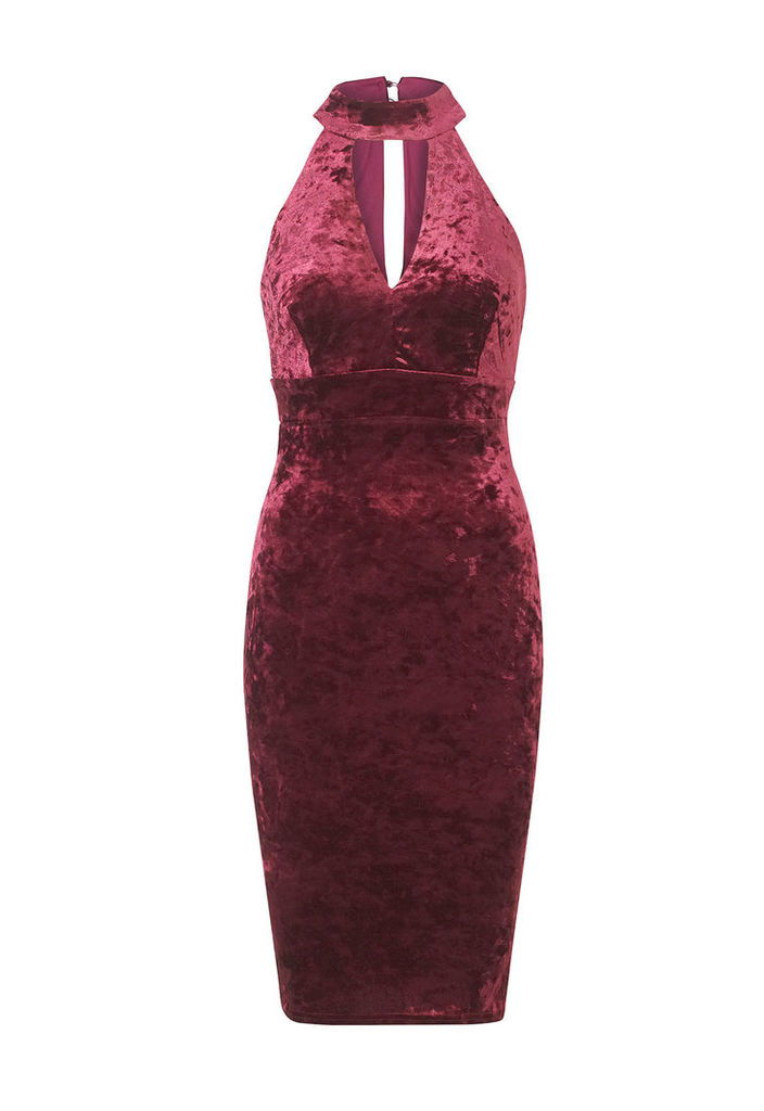 Sistaglam by Lipstick Boutique Roxanne Velvet High Neck Bodycon Dress in Berry