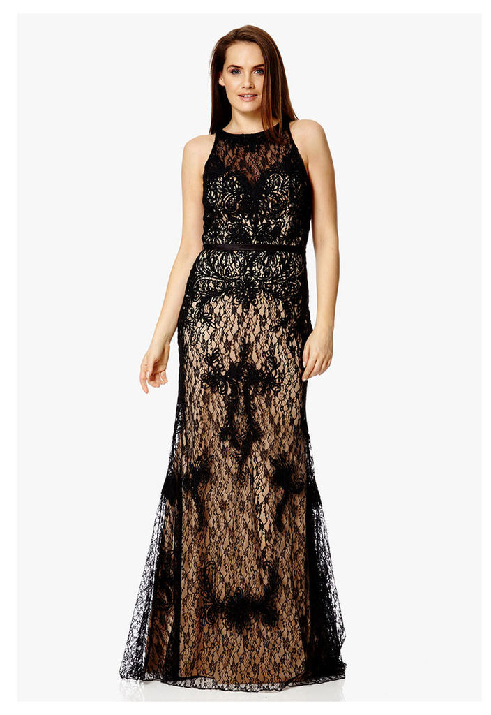 Dynasty London Ansa Lace Maxi Dress in Black & Nude