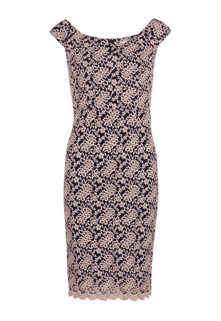 Gina Bacconi Scallop Lace Off Shoulder Dress