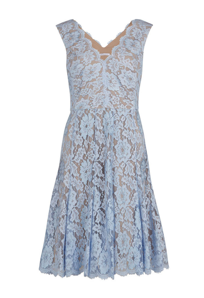 Gina Bacconi Scallop Flower Lace Dress with V Neck