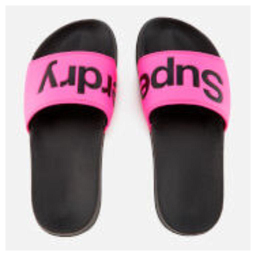 Superdry Women's Pool Slide Sandals - Black/Fluro Pink - L/UK 7-8 - Pink