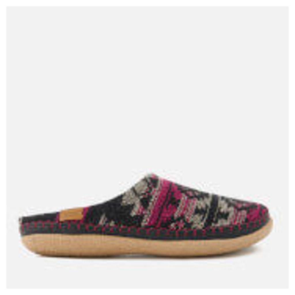 TOMS Women's Ivy Woollen Slippers - Grey/Fuchsia Tribal