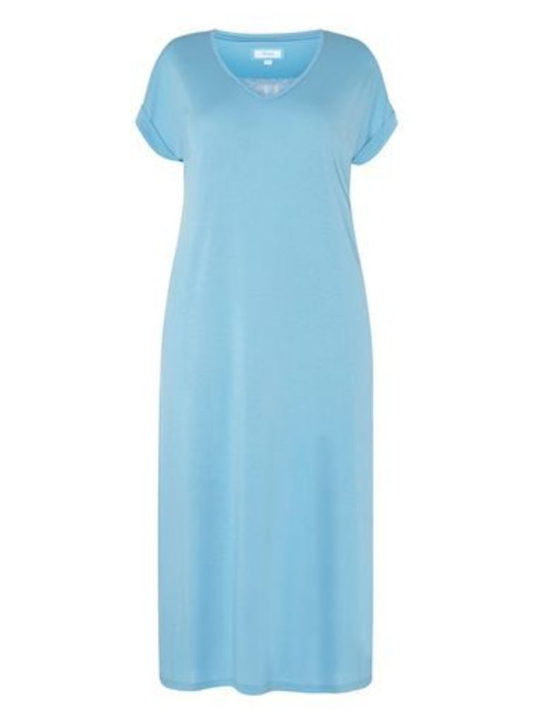 Turquoise Blue Lace Insert Long Nightdress, Blue