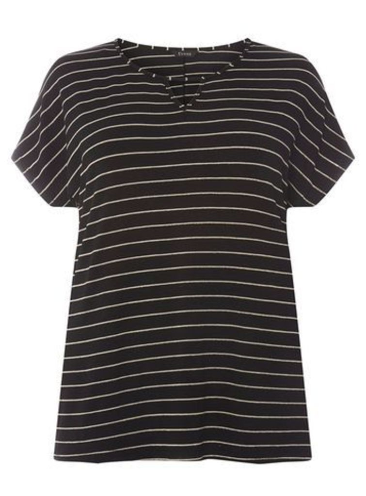 Black and Gold Striped T-Shirt, Black