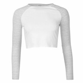 Miso Long Sleeve Crop Top Ladies - White/Grey
