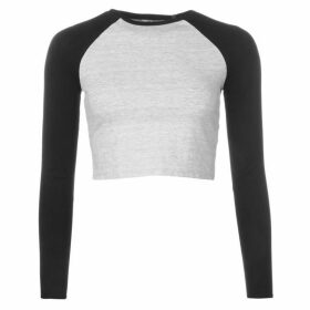 Miso Long Sleeve Crop Top Ladies - Black/Grey M