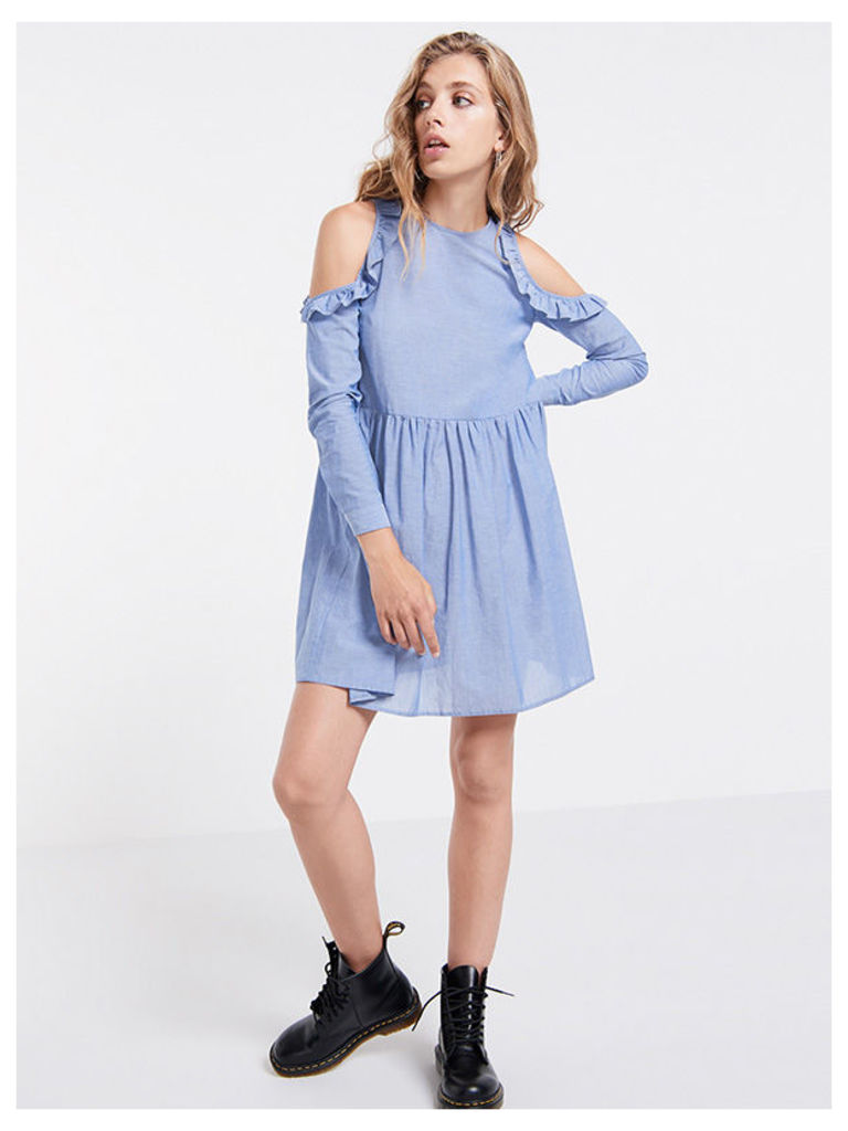 Blue Chambray Cold Shoulder Frill Dress