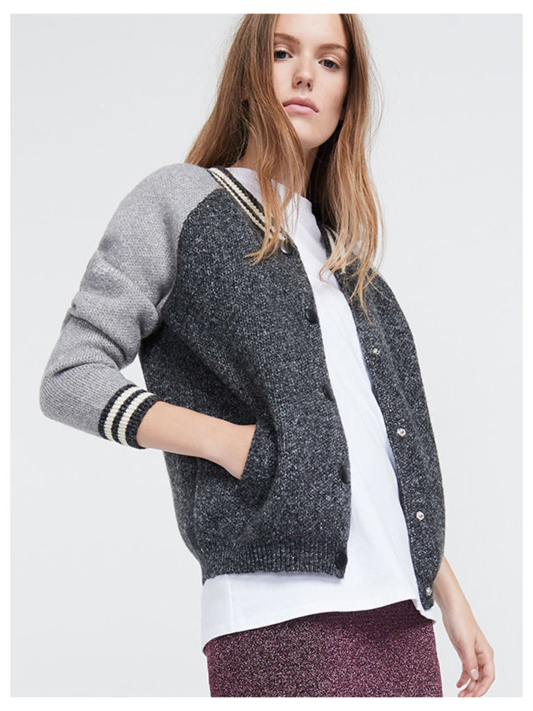 Grey Knitted Contrast Sleeve Varsity Jacket