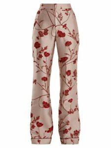 Johanna Ortiz - Jancita High-rise Flared Brocade Trousers - Womens - Pink Red