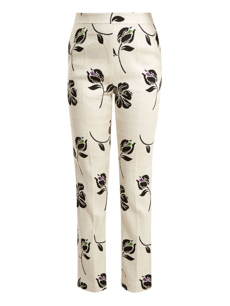 Candice floral-jacquard straight-leg trousers