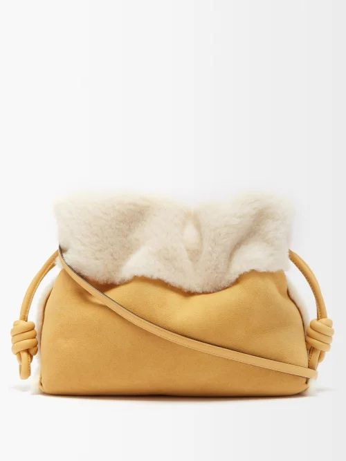 Summa - Contrast Sleeve Leather And Shearling Jacket - Womens - Black