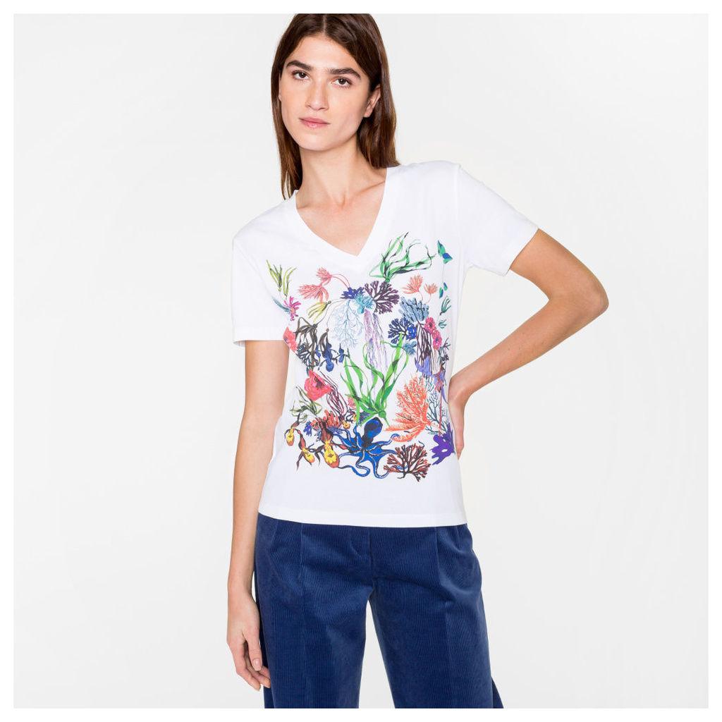 Women's White 'Ocean Floral' Print Cotton T-Shirt