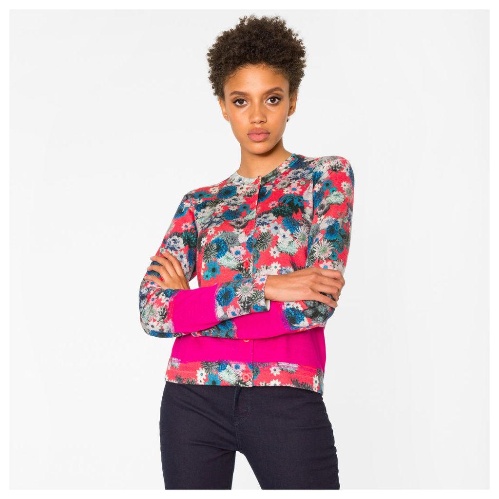 Women's Red 'Ocean Floral' Print Merino Wool Cardigan