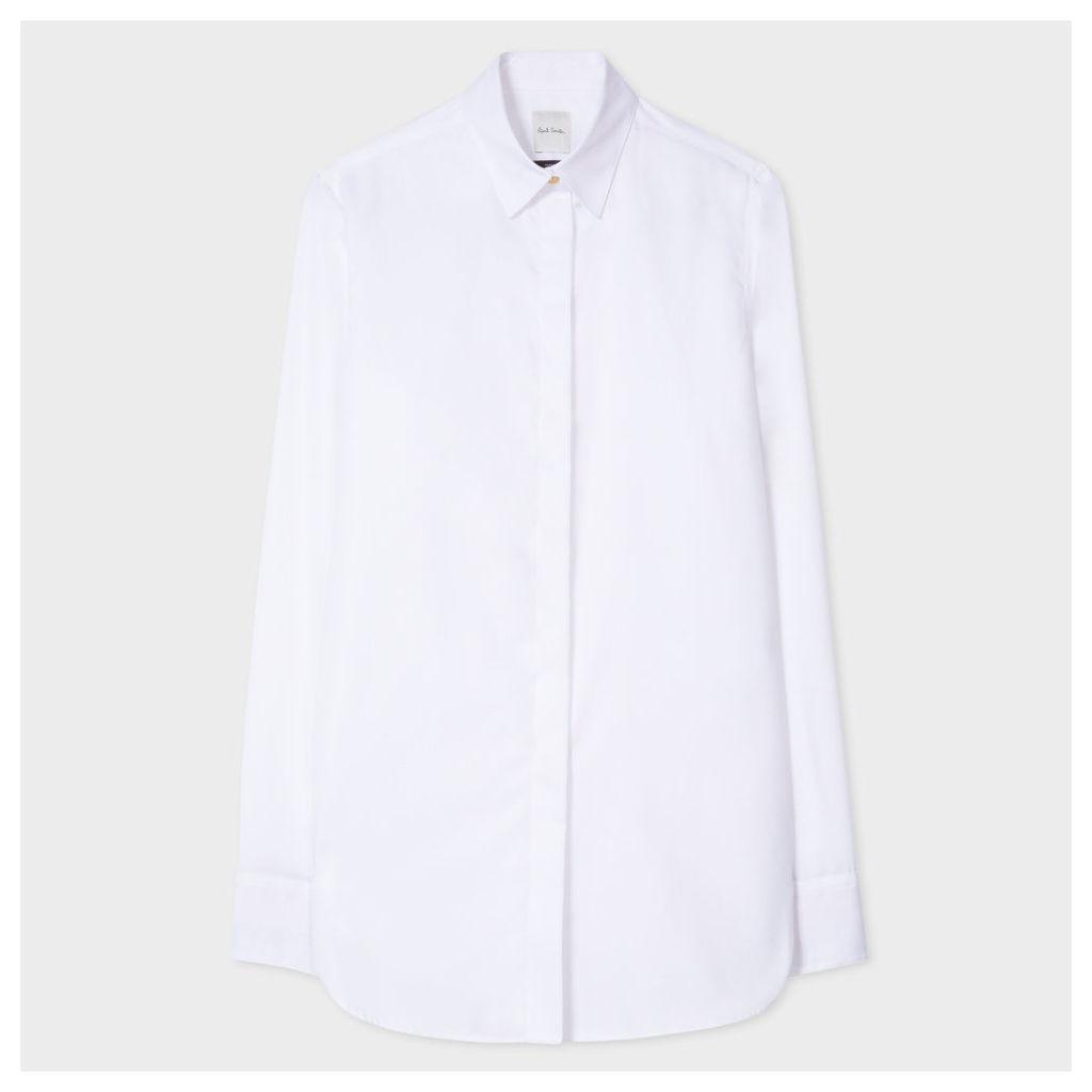 Women's White Cotton-Twill Shirt With 'Artist Stripe' Cuff Linings