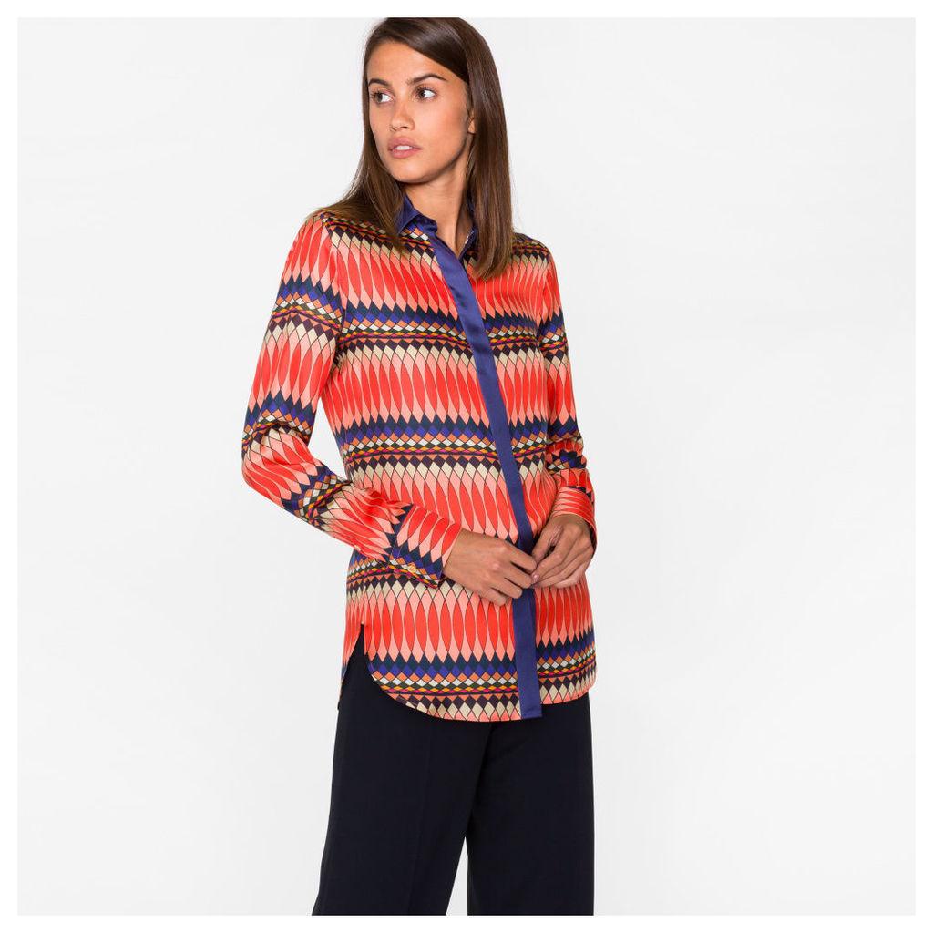 Women's Multi-Coloured 'No.9' Print Silk-Twill Shirt