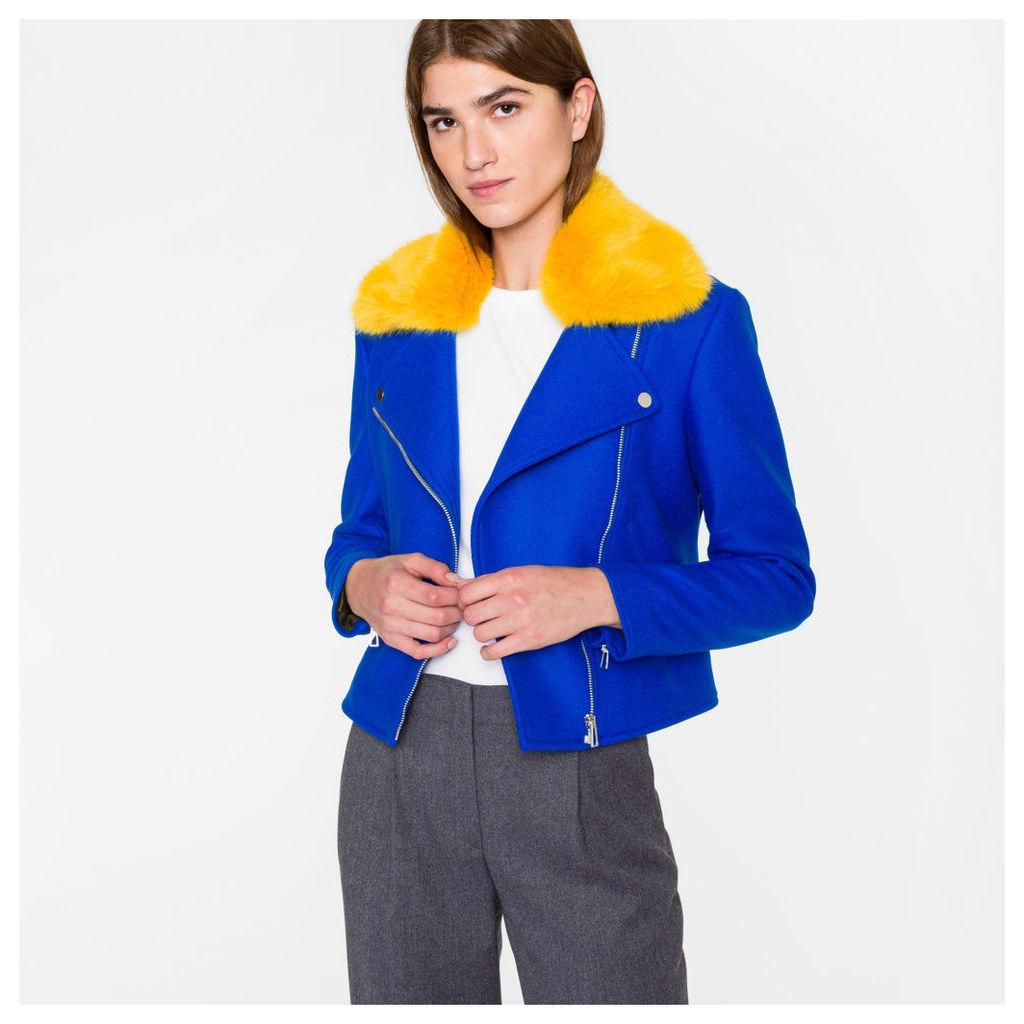 Women's Blue Wool-Cashmere Biker Jacket With Yellow Collar
