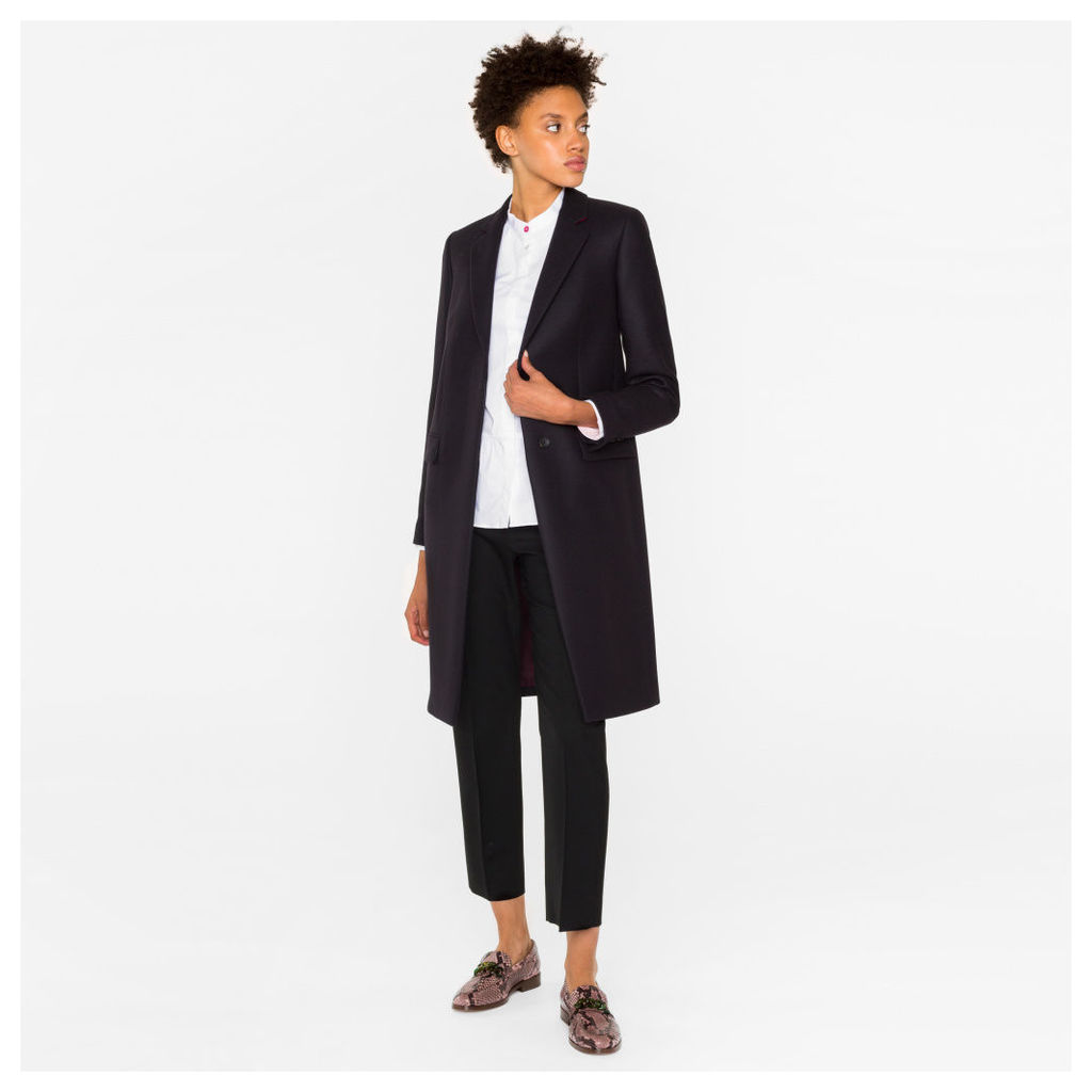 Women's Navy Wool-Cashmere Epsom Coat