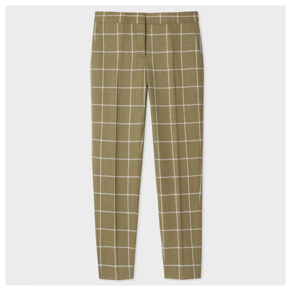 Women's Classic-Fit Khaki Windowpane-Check British Wool Trousers