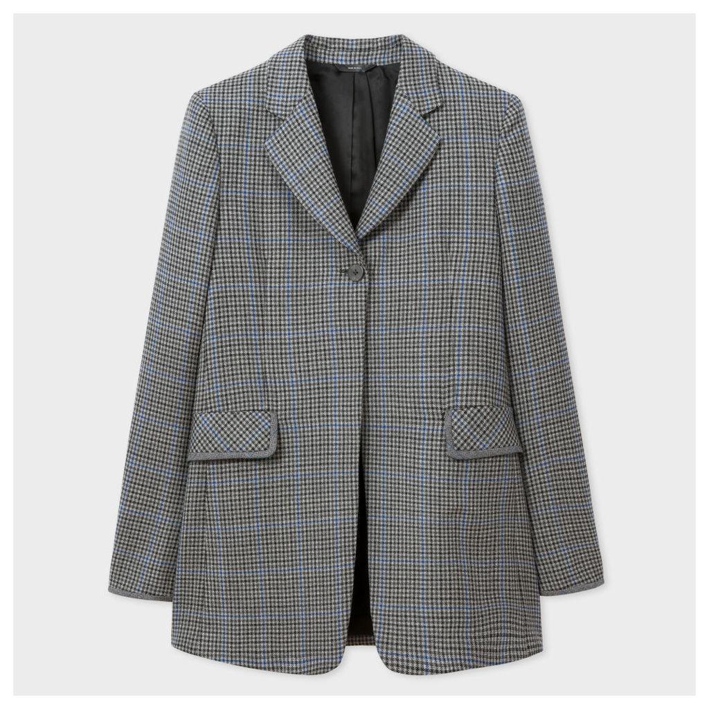 Women's Regular-Fit Puppytooth-Check Wool Long Blazer