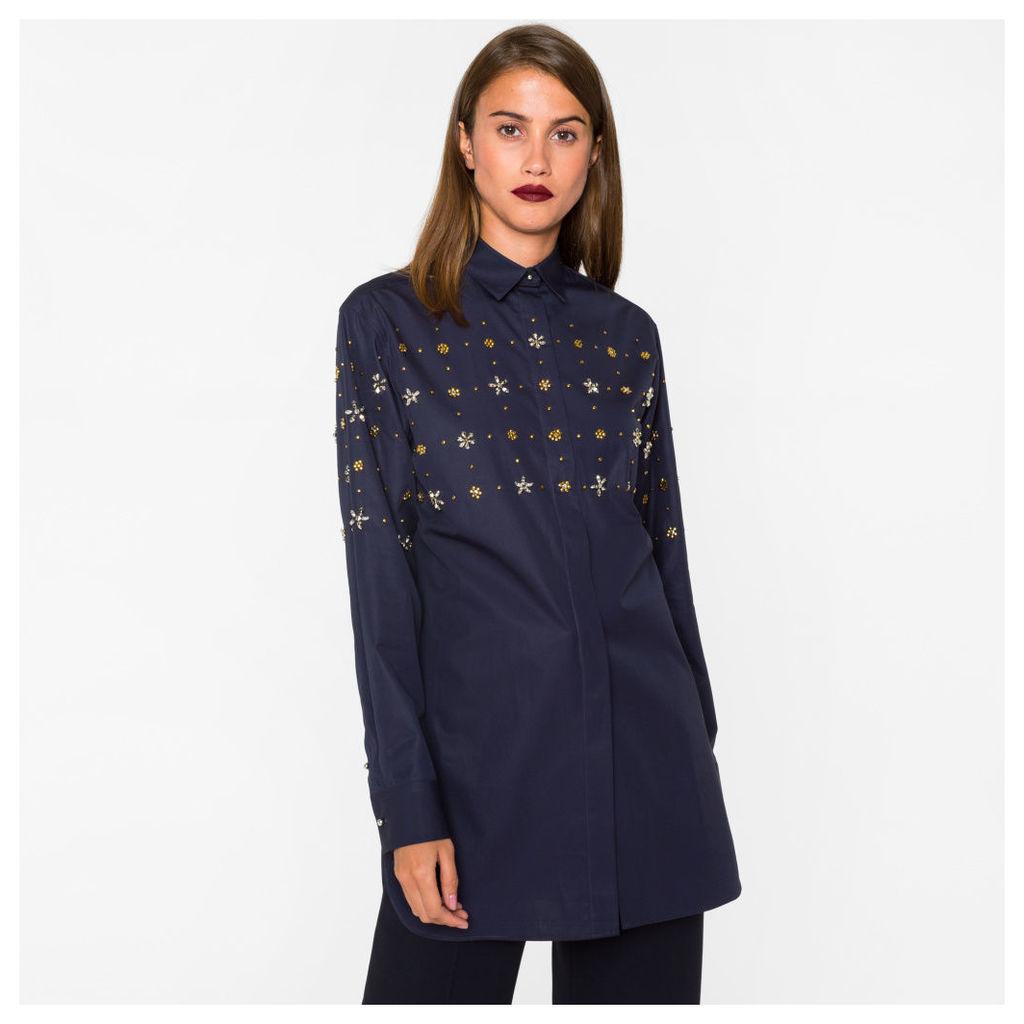 Women's Oversized Navy Cotton Shirt With Embellishments