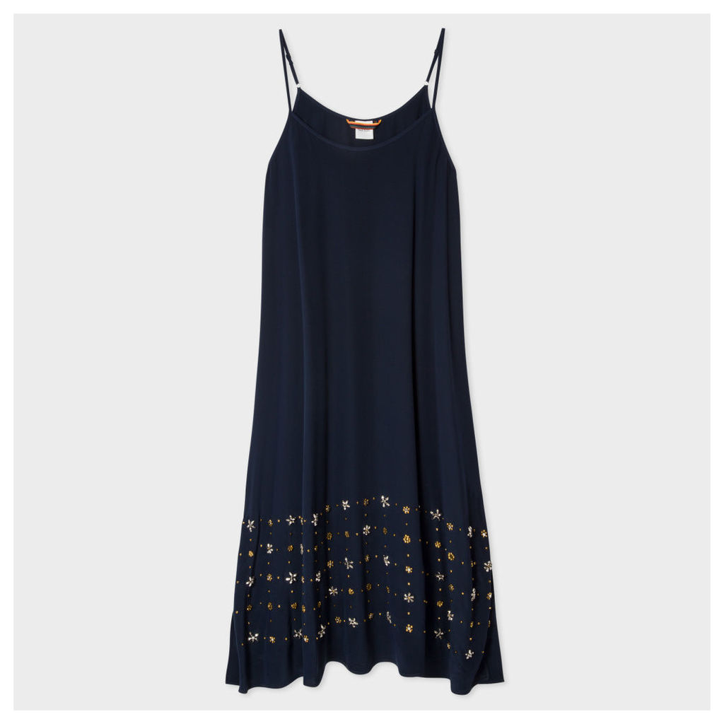 Women's Navy Silk Slip-Dress With Embellishments
