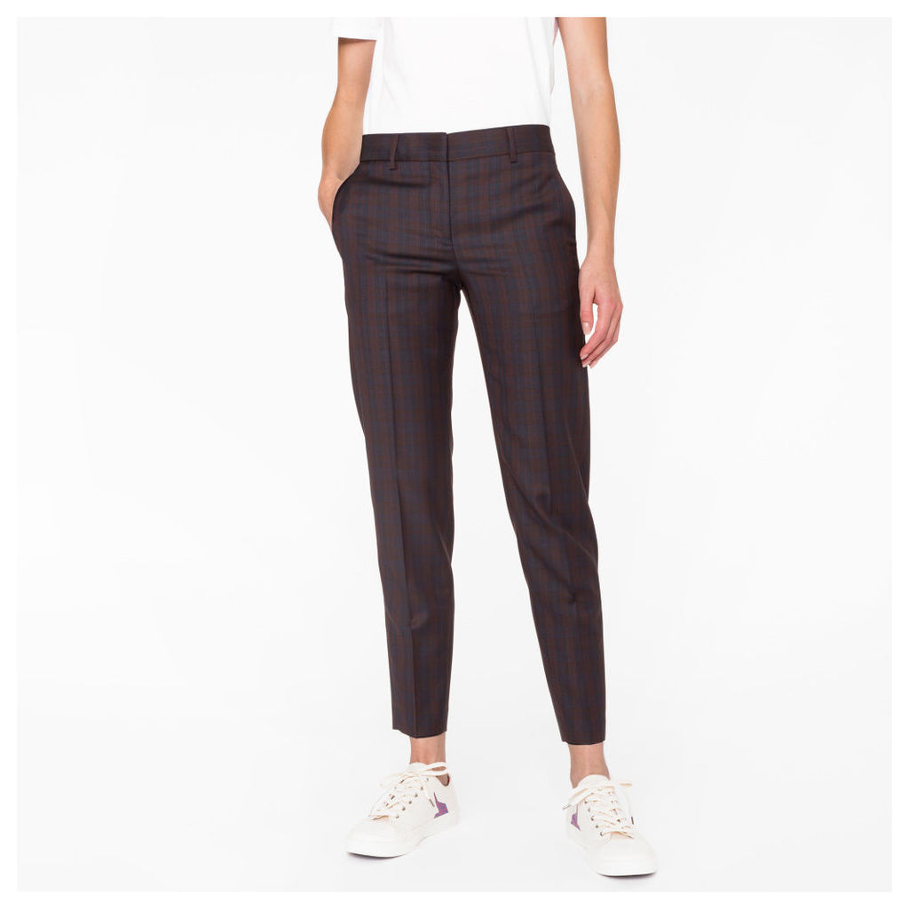 Women's Classic-Fit Navy And Burgundy Check Trousers